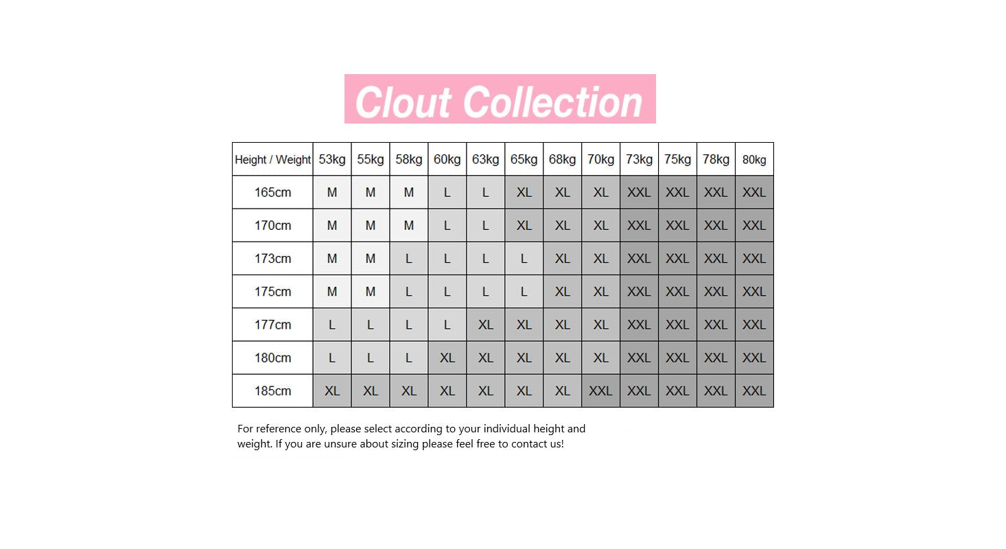 Clout Collection Sizing - High Fashion Streetwear Menswear