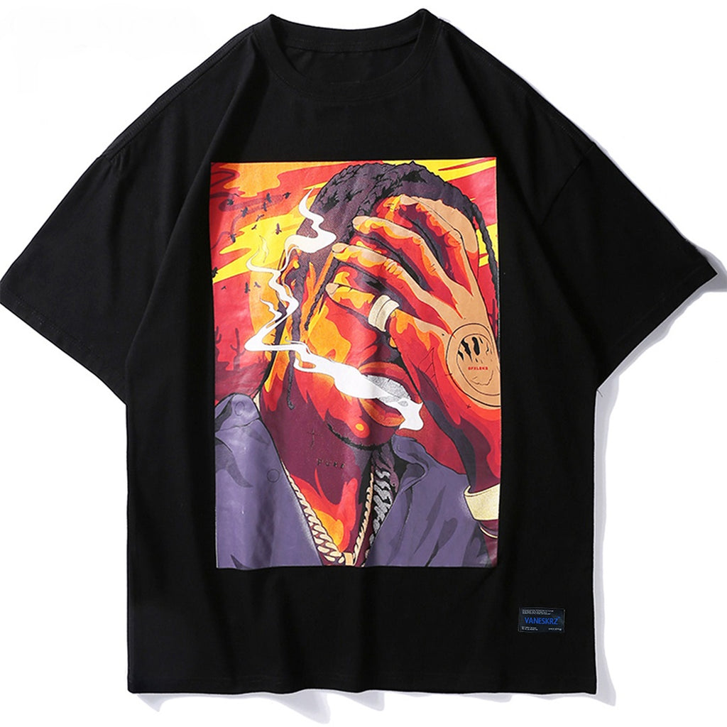 La Flame Free Smoke Graphic T-Shirt - CLOUT COLLECTION