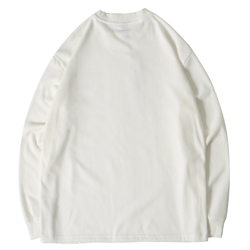 Disintegration Thick Long Sleeve in Solid Cream - Clout Collection High Fashion Streetwear Men's and Women's