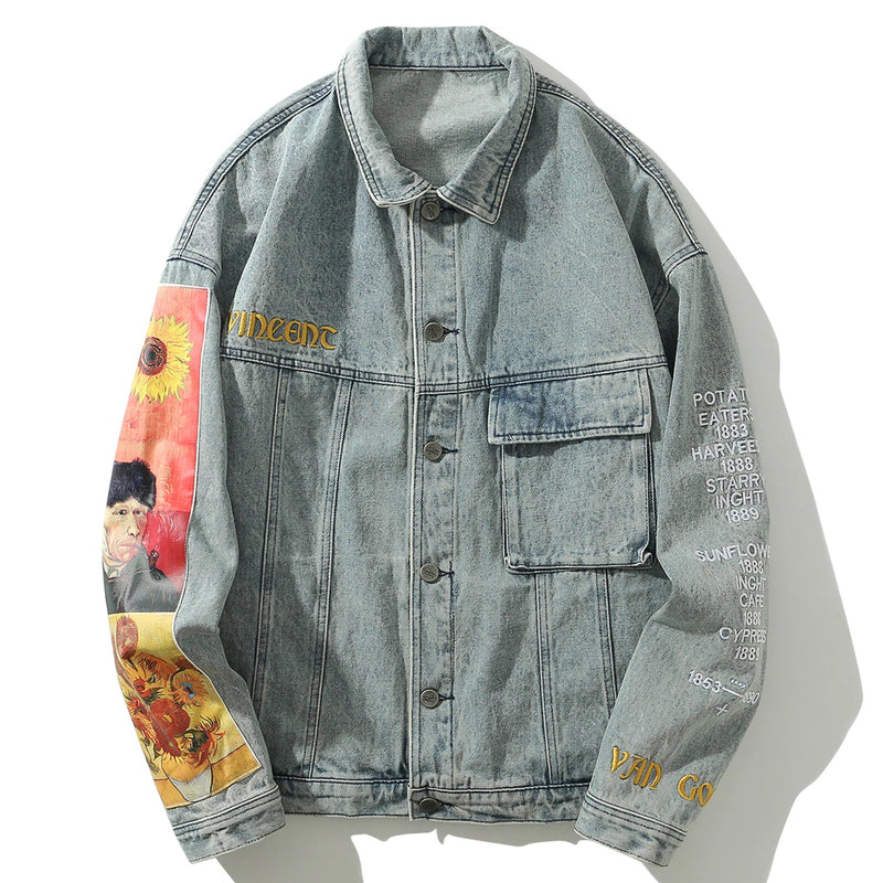Vincent Van Gogh Embroidered Denim Jacket - Clout Collection High Fashion Streetwear Men's and Women's