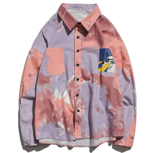 Casual Cotton Button Up in Retro Tie-Dye - Clout Collection High Fashion Streetwear Men's and Women's