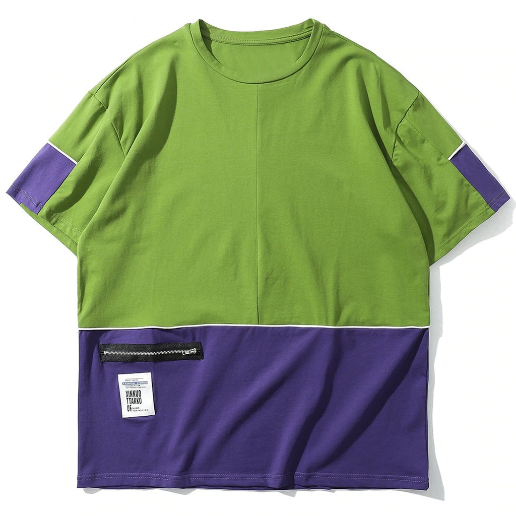 Two-Tone Zipper Pocket Cotton T-Shirt - CLOUT COLLECTION