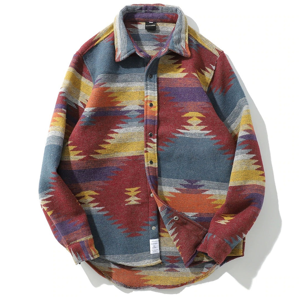 Tribal Fleece Button Down Shirt - CLOUT COLLECTION