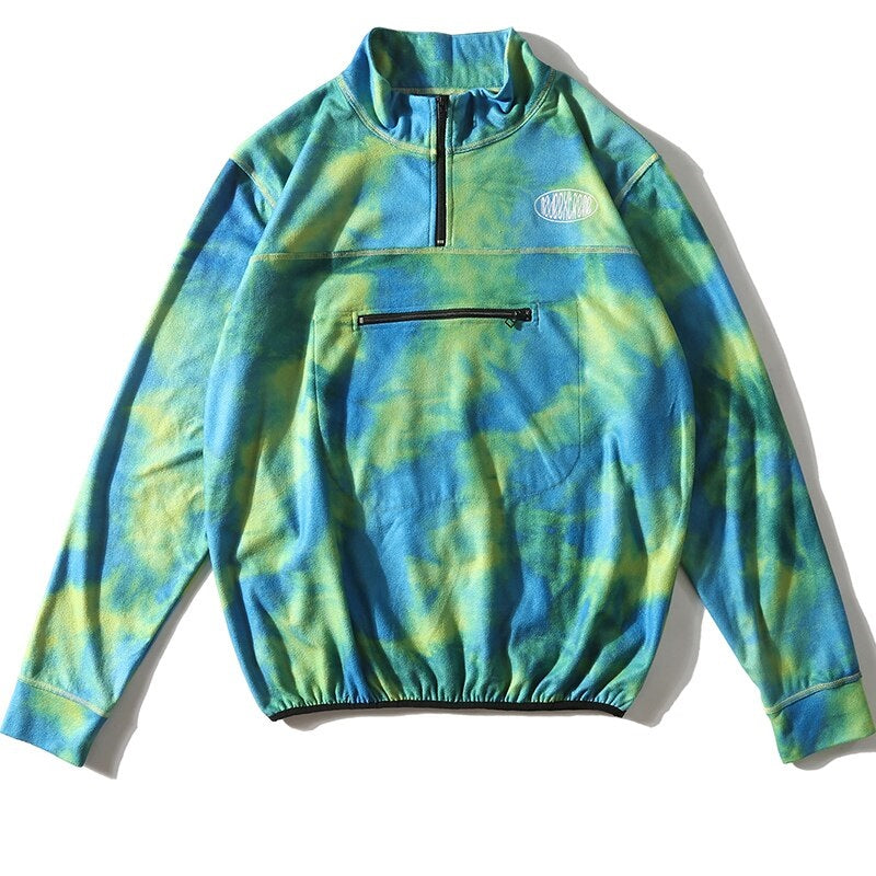 Half Zip Sweatshirt in Tie-Dye Fleece - Clout Collection High Fashion Streetwear Men's and Women's