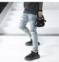 S6 Heavily Distressed Slim Fit Jeans - Clout Collection High Fashion Streetwear Men's and Women's