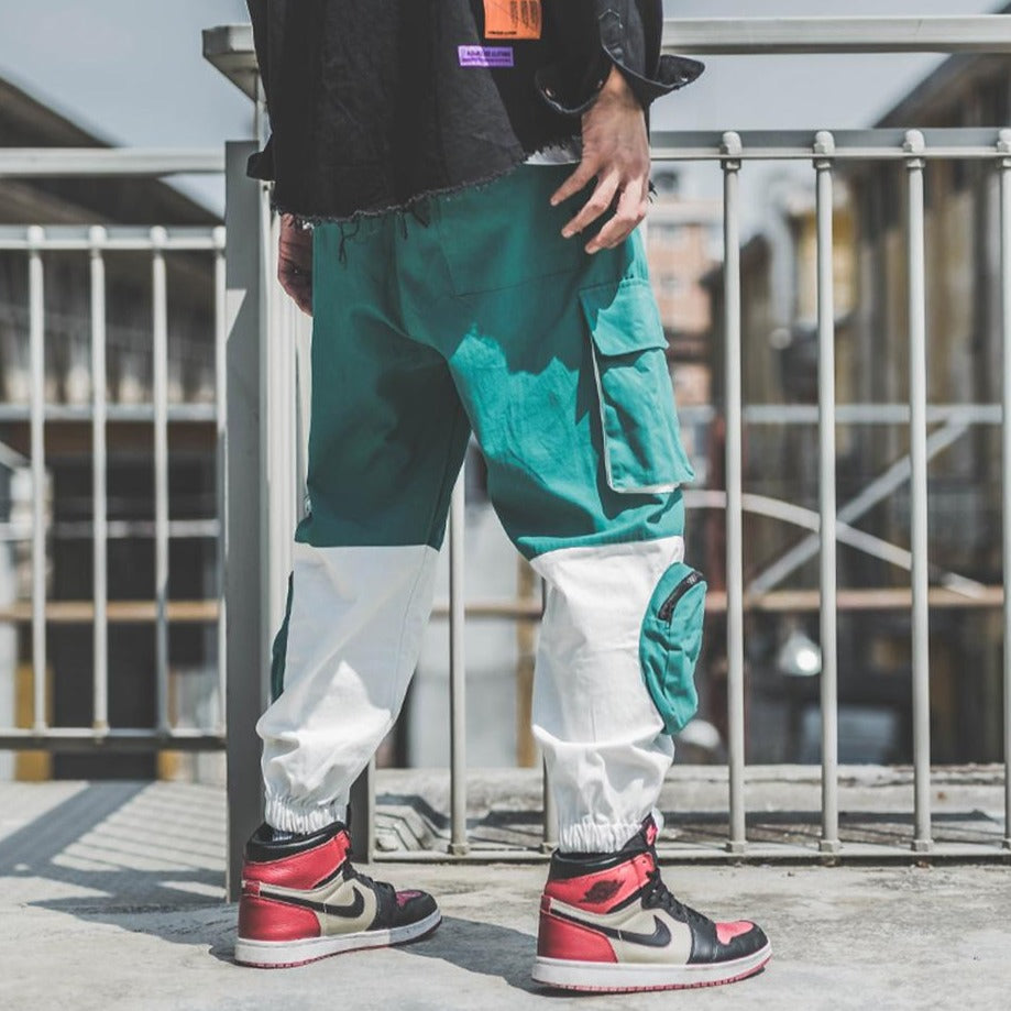 SubCrude Knee Pocket Patchwork Cargo Joggers - Clout Collection High Fashion Streetwear Men's and Women's