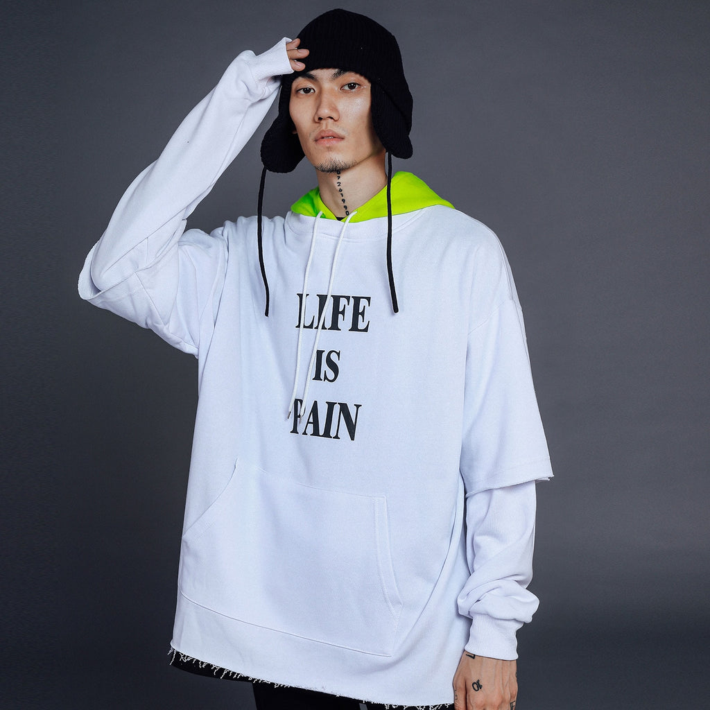 'Life is Pain' Cotton Combo Pullover - Clout Collection High Fashion Streetwear Men's and Women's
