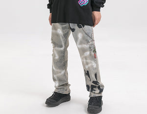 Disrespected Denim Jeans in Custom Graffiti - Clout Collection High Fashion Streetwear Men's and Women's