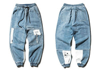 Distressed Denim Joggers with Custom Patching - Clout Collection High Fashion Streetwear Men's and Women's