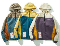 Color Block Logo Print Overhead Hooded Jacket - Clout Collection High Fashion Streetwear Men's and Women's