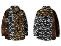 'Additive' Reversible Button Up with Leopard Camo Print - Clout Collection High Fashion Streetwear Men's and Women's