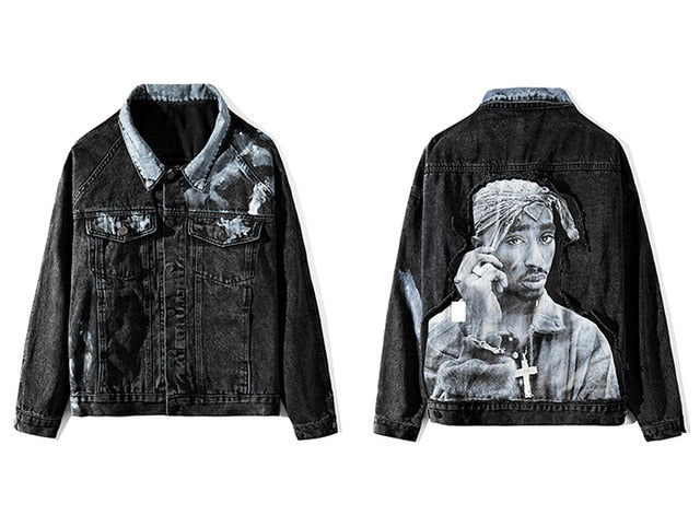 Denim Jacket with Tupac Embroidery Print - Clout Collection High Fashion Streetwear Men's and Women's