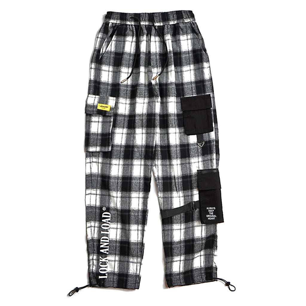 Warm Check Flannel Pants with Detachable Side Pockets - Clout Collection High Fashion Streetwear Men's and Women's