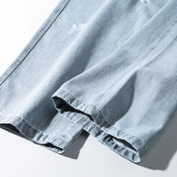 Light Wash Jeans with Heavy Distress - Clout Collection High Fashion Streetwear Men's and Women's