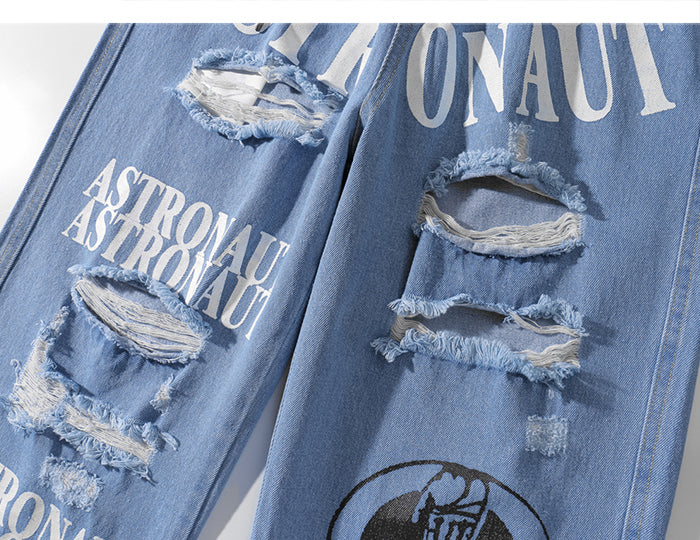Distressed Denim Joggers in 'Astronaut' Print - Clout Collection High Fashion Streetwear Men's and Women's
