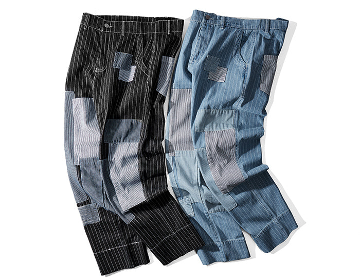 Retro Clout Pinstriped Jeans with Vintage Patchwork - Clout Collection High Fashion Streetwear Men's and Women's