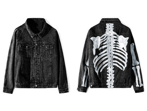 Denim Jacket Hand Painted with Skeleton Design - Clout Collection High Fashion Streetwear Men's and Women's