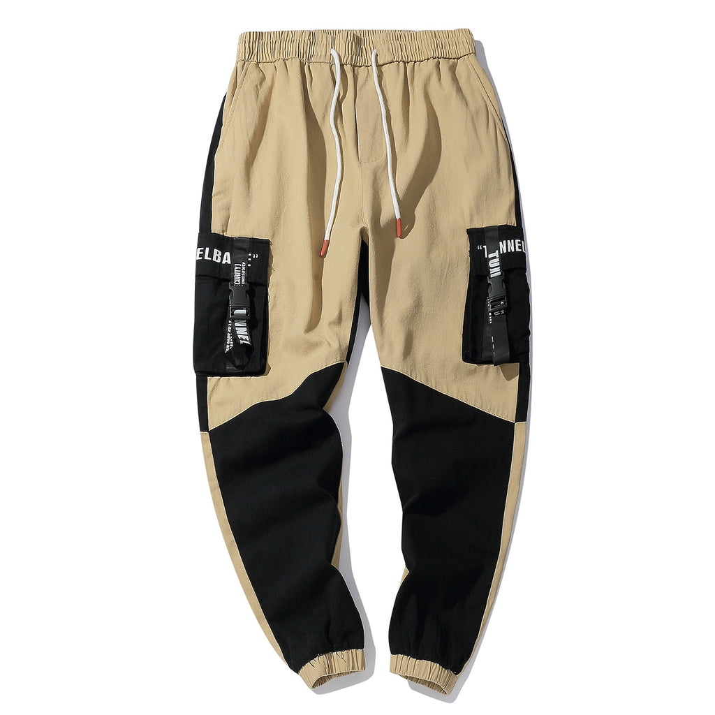 Patchwork Cargo Joggers with Printed Pocket Straps - Clout Collection High Fashion Streetwear Men's and Women's