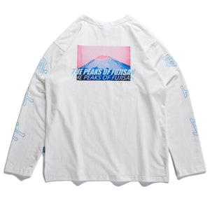 Long Sleeve Cotton Tee with Fuji-san Print - Clout Collection High Fashion Streetwear Men's and Women's