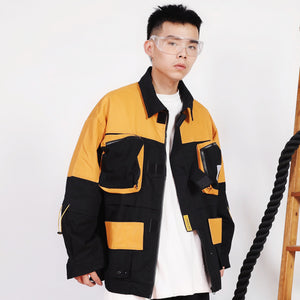 Abstract Cargo Jacket with Adjustable Strapping - Clout Collection High Fashion Streetwear Men's and Women's