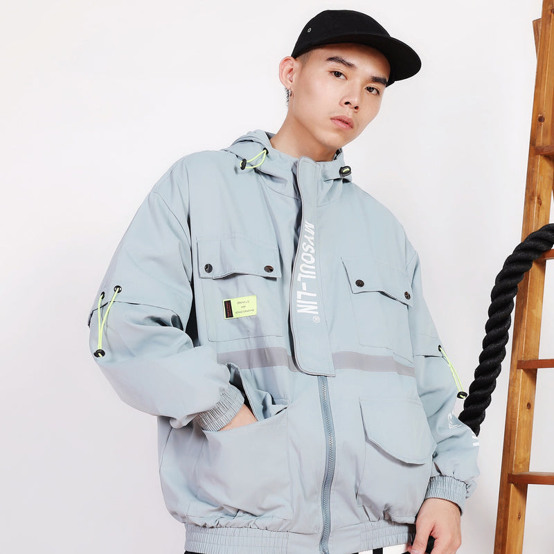 MySoul Multi-Pocket Windbreaker in Pastel or Black - Clout Collection High Fashion Streetwear Men's and Women's