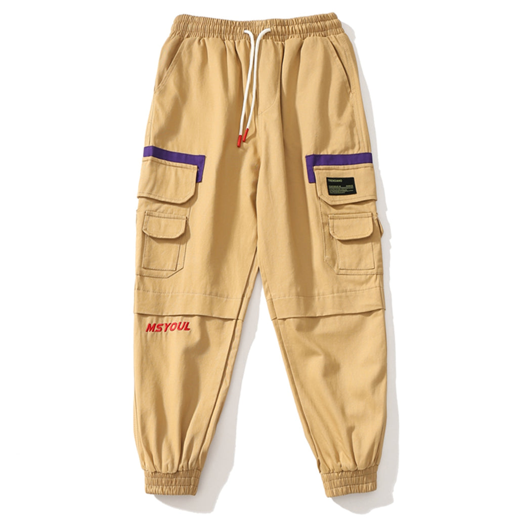 Soul Multi-Pocket Cargo Joggers in Khaki or Black - Clout Collection High Fashion Streetwear Men's and Women's
