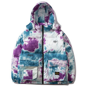 Crown Grade Hooded Puffer in Tie-Dye Print - Clout Collection High Fashion Streetwear Men's and Women's