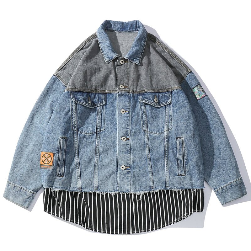 Retro Clout Denim Jacket with Complex Patching and Detail - Clout Collection High Fashion Streetwear Men's and Women's