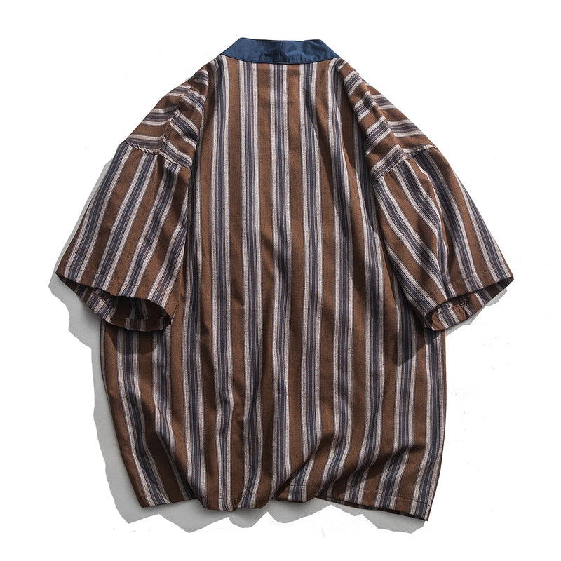 Two Tone Traditional Japanese Loose-top Shirt - Clout Collection High Fashion Streetwear Men's and Women's
