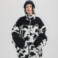 Extreme Aesthetic Borg Zip-Up in Cow Print - Clout Collection High Fashion Streetwear Men's and Women's