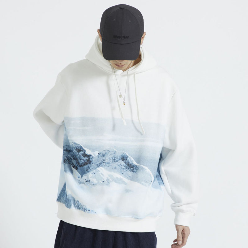 'Relaxation' Hoodie in Snowy Mountain Print - Clout Collection High Fashion Streetwear Men's and Women's