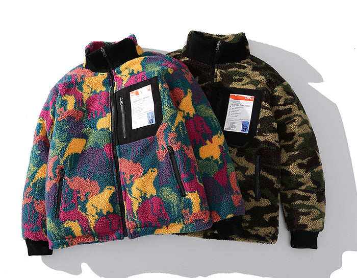 Reversible Borg Zip-Up in Camo - Clout Collection High Fashion Streetwear Men's and Women's