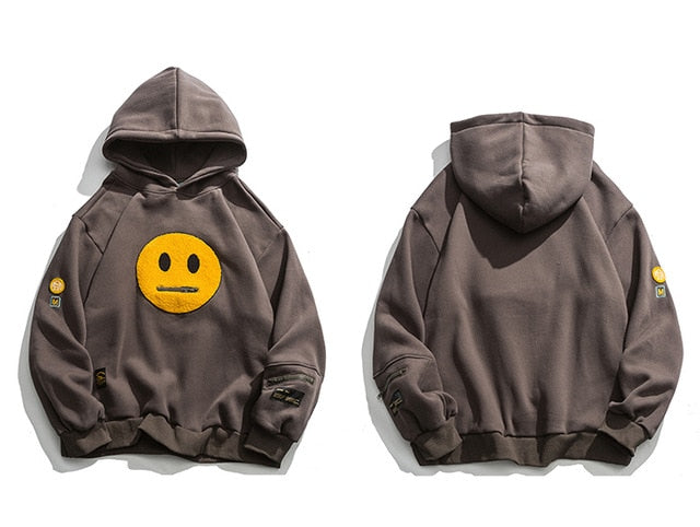 Neutral Face Patched Cotton Hoodie - Clout Collection High Fashion Streetwear Men's and Women's