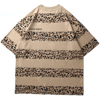 Unusual Original Striped Leopard Print T-Shirt - Clout Collection High Fashion Streetwear Men's and Women's