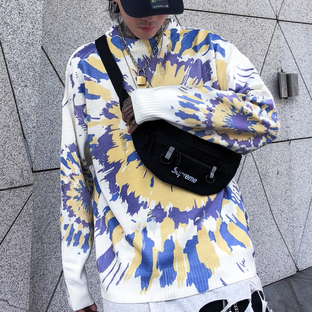 Tie-Dye Knit Sweater with Slight Distress - Clout Collection High Fashion Streetwear Men's and Women's