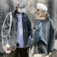 Denim Tracksuit with Slight Distress - Clout Collection High Fashion Streetwear Men's and Women's