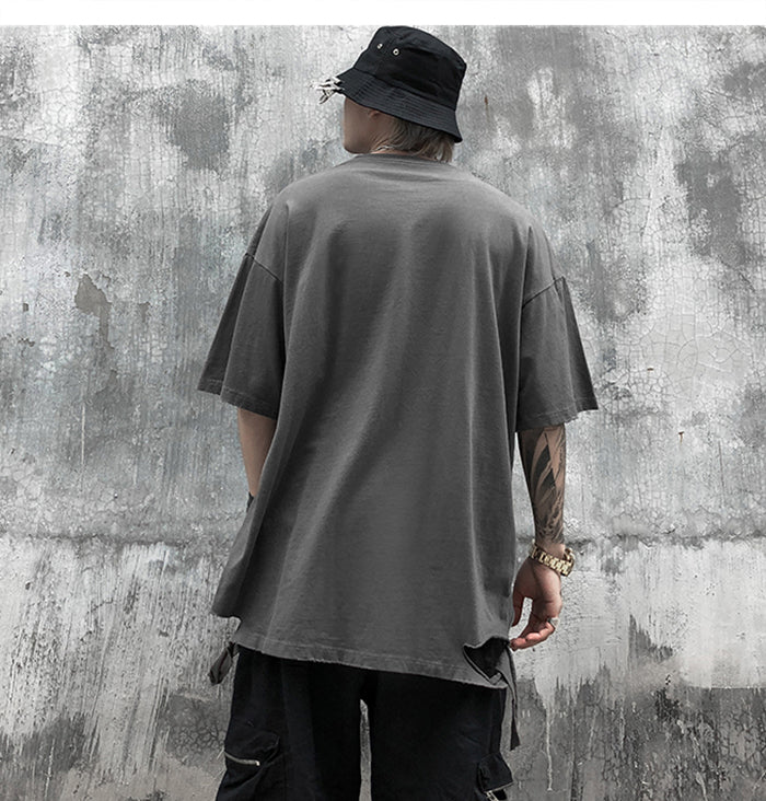 Distressed Cotton T-Shirt in Khaki or Grey - Clout Collection High Fashion Streetwear Men's and Women's