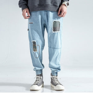 Vintage Distressed Light Wash Jogger Jeans - Clout Collection High Fashion Streetwear Men's and Women's