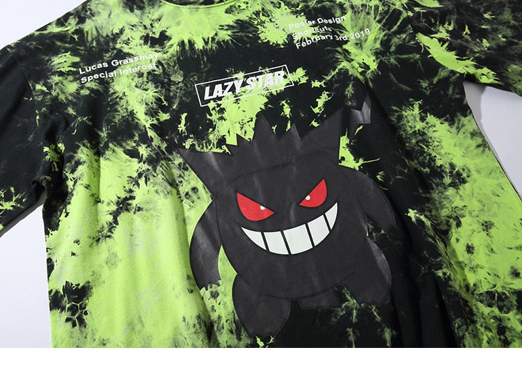 Lazy Star Dark Gengar Tie Dye T-Shirt - Clout Collection High Fashion Streetwear Men's and Women's