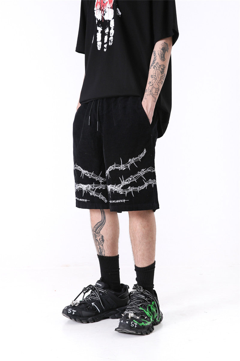 Magic Declaration Savage Barbed-Wire Shorts - Clout Collection High Fashion Streetwear Men's and Women's