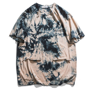 Dual Pocket Tie-Die Active Cotton T-Shirt - Clout Collection High Fashion Streetwear Men's and Women's
