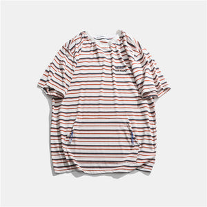 VegaPunk Horizontal Stripe Cotton Tee with Kanga Pocket - Clout Collection High Fashion Streetwear Men's and Women's