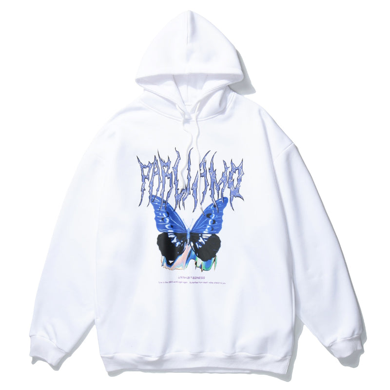Uninhibited 'Parliamo' Drawstring Hoodie in Butterfly Print