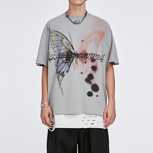 No Name Butterfly T-Shirt in Acid Wash