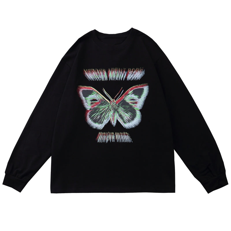 3D Distortion Long Sleeve Tee in Butterfly Print