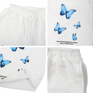 Disintegration Sweat Shorts in Butterfly Print