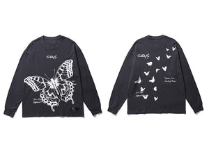 Abstract Long Sleeve Tee in Butterfly Print
