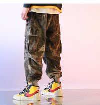 Gaze Cargo Acid Wash Tie-Dye Denim Joggers