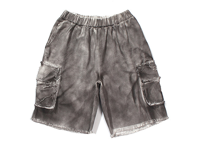 Heavily Distressed Cotton Cargo Shorts