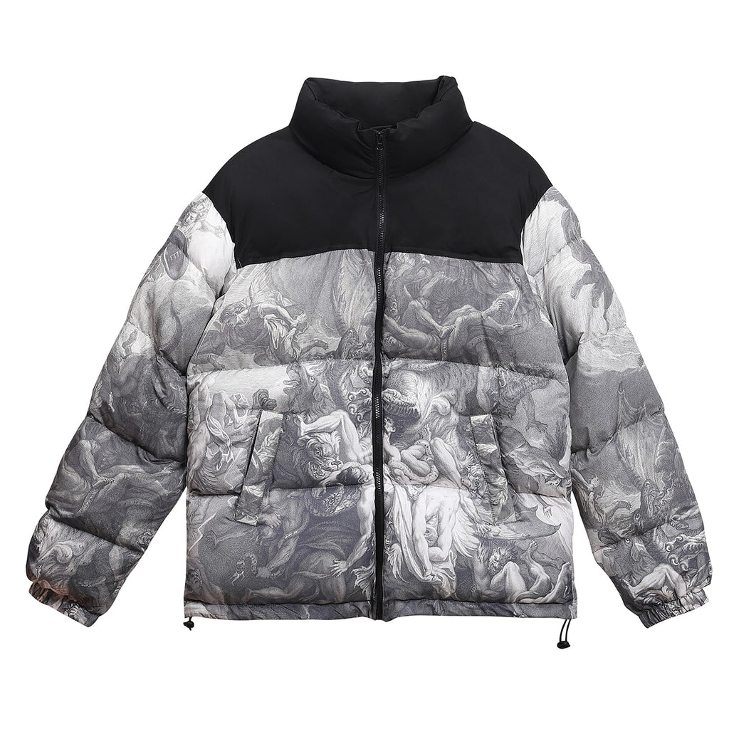 'The Plague' Monochrome Print Down Puffer Jacket